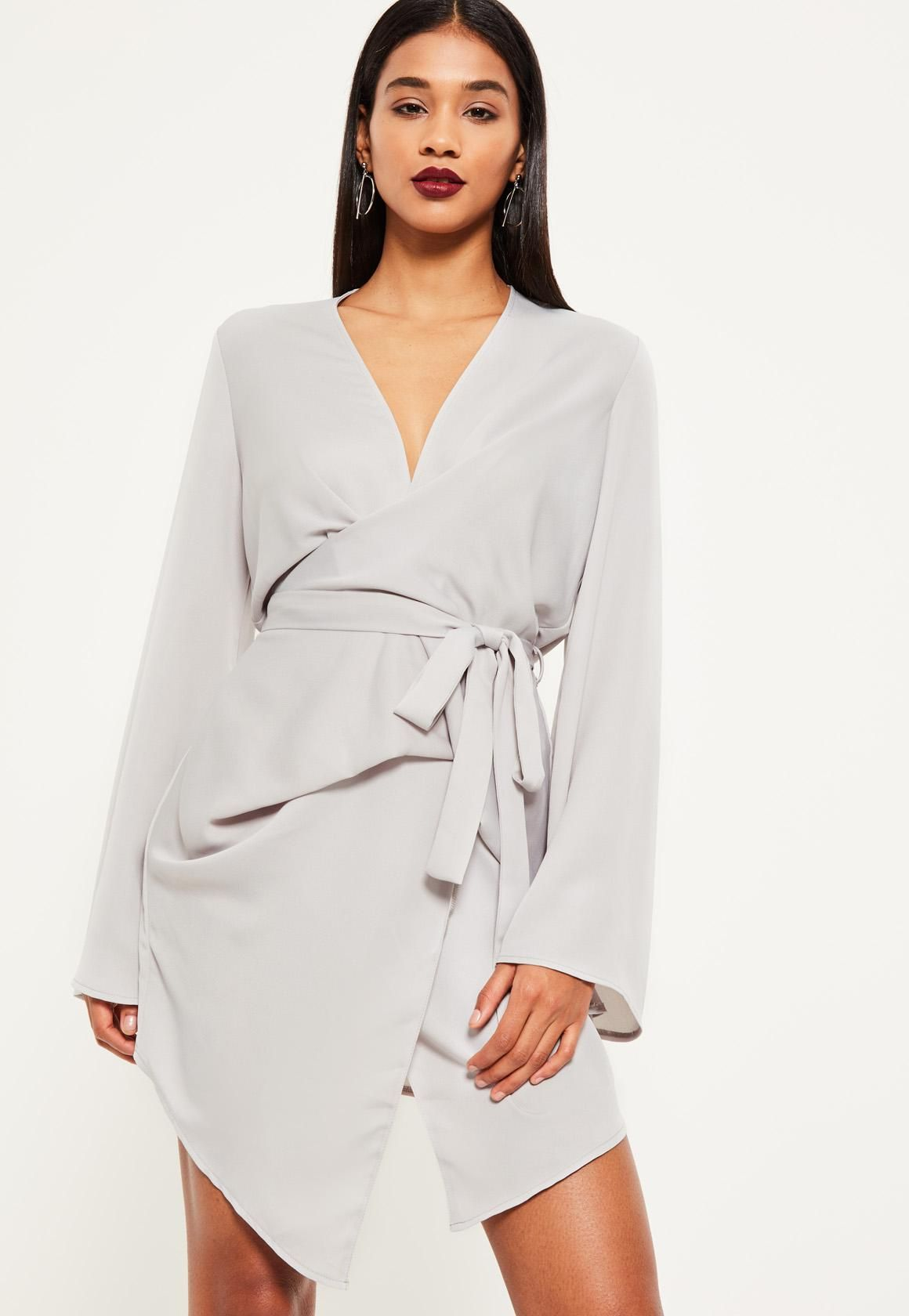 b93bc6ada6c2 Missguided - Grey Long Sleeve Kimono Wrap Dress