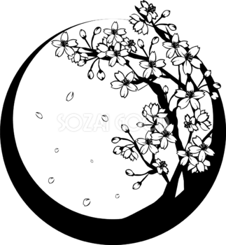 白黒の桜の木和フレーム無料イラスト 春41808 桜 デザイン イラスト