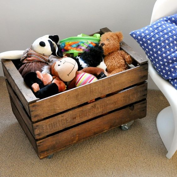 Rustic Wooden Crate On Wheels For Mobile Toy Storage