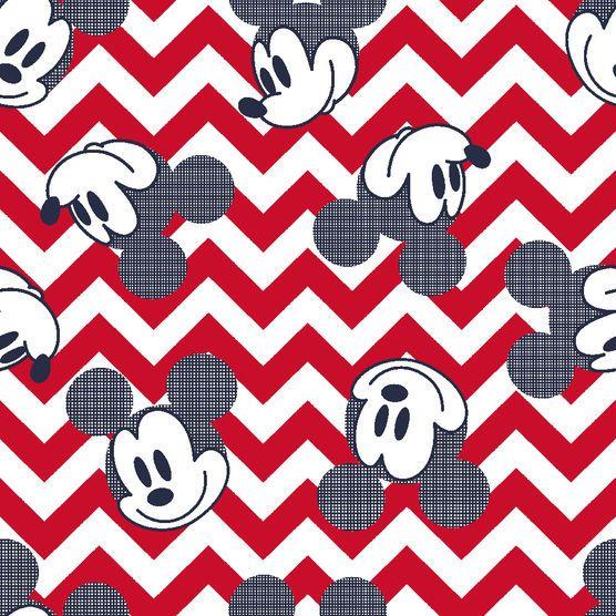 Mickey Pattern Fill Chevron Fleece Fabric