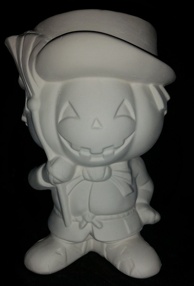 Unpainted Ceramic Halloween Pumpkin Head Boy Ready to Paint