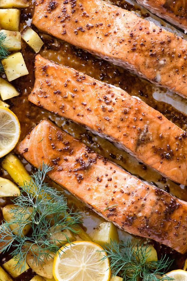 a82930f2b570 Sheet Pan Maple-Mustard Salmon with Roasted Carrots and Potatoes. A quick  and easy dinner recipe with mouthwatering salmon