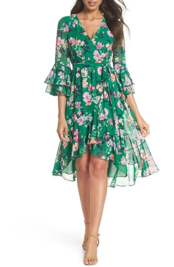 fb1cb16f6eb Free shipping and returns on Eliza J Double Bell Sleeve Faux Wrap Dress  (Regular   Petite) at Nordstrom.com. Luxurious chiffon fashions this floral  frock ...