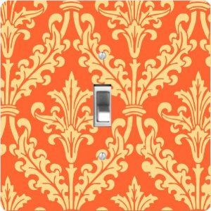"""Rikki KnightTM Autumn Orange Color Damask Design - Single Toggle Light Switch Cover by Rikki Knight. $13.99. For use on Walls (screws not included). Glossy Finish. Washable. 5""""x 5""""x 0.18"""". Masonite Hardboard Material. The Autumn Orange Color Damask Design single toggle light switch cover is made of commercial vibrant quality masonite Hardboard that is cut into 5"""" Square with 1'8"""" thick material. The Beautiful Art Photo Reproduction is printed directly into the s..."""