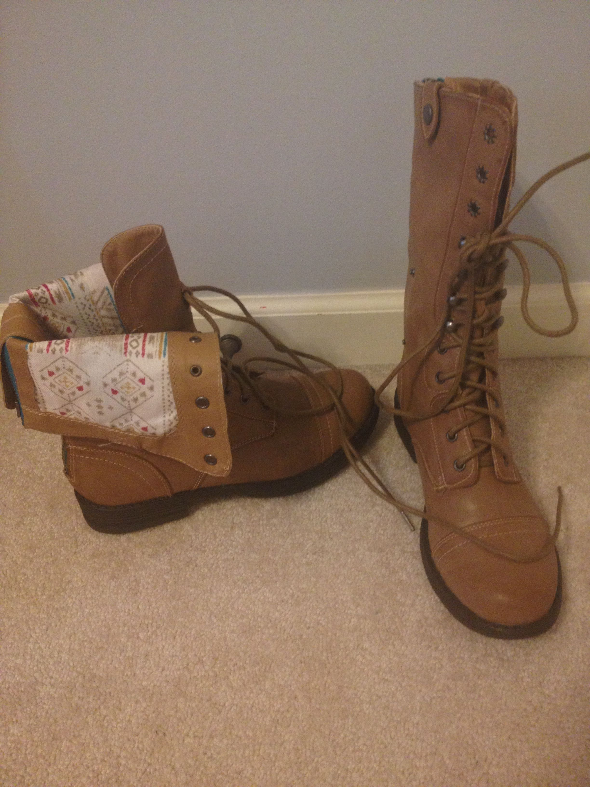 Cute Light Brown Combat Boots | Want. Want. Want. | Shoes ...