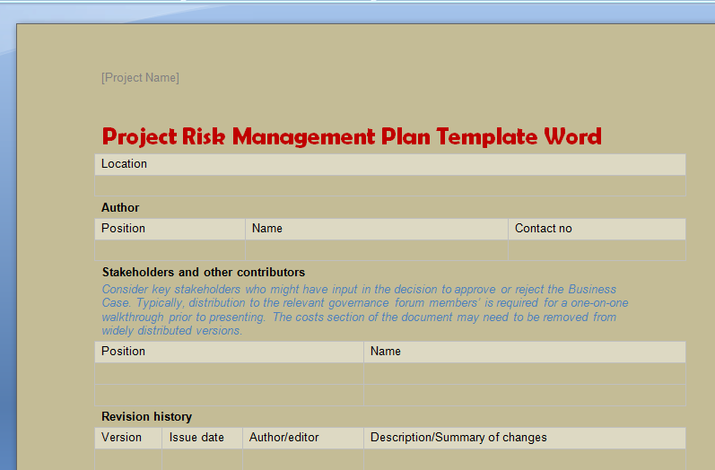Project Risk Management Plan Template Word | Projectemplates ...