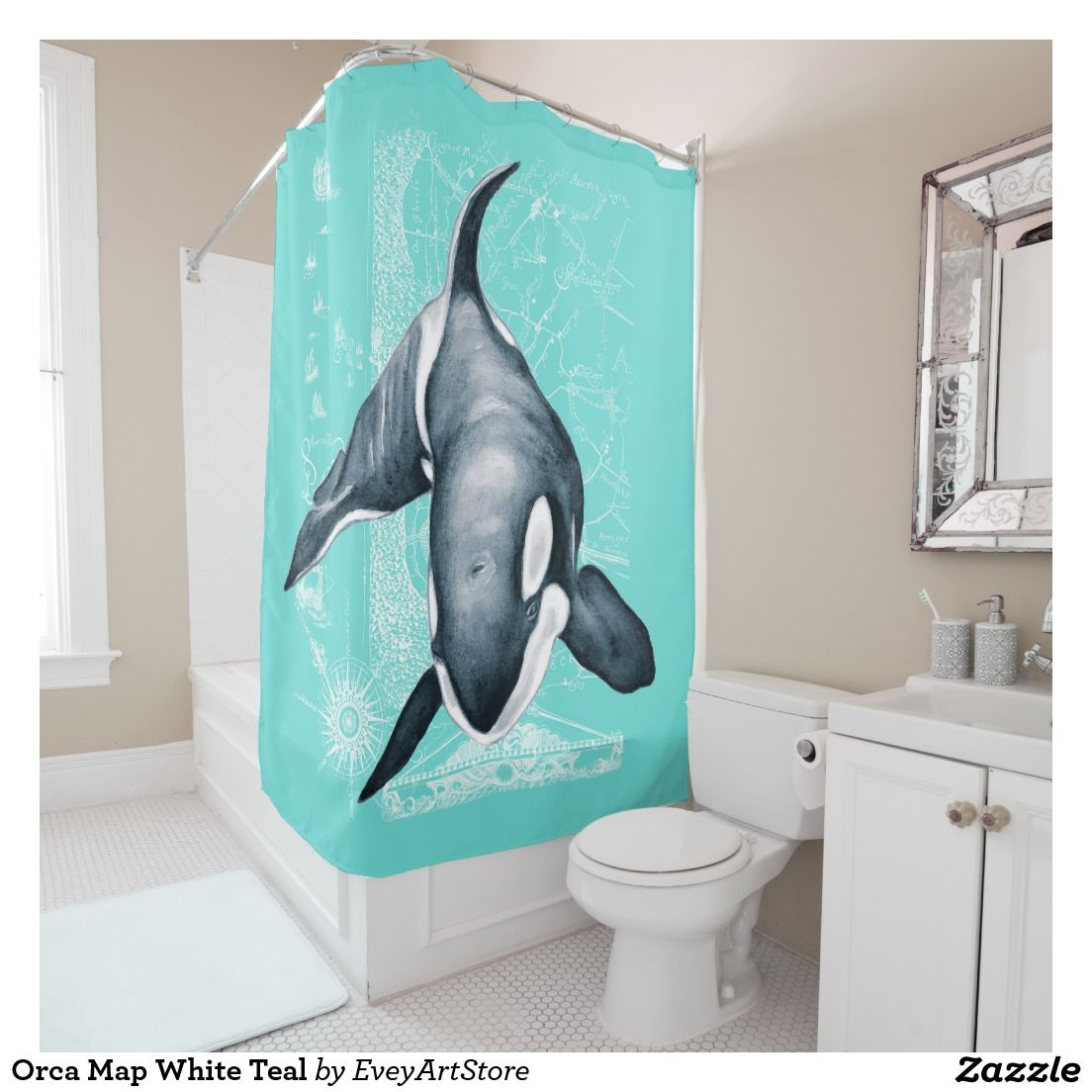 Treasure map shower curtain - Orca Map White Teal