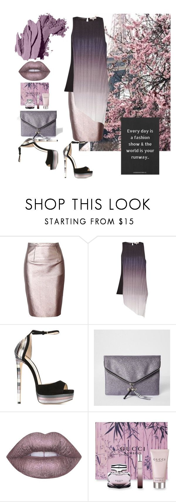 """""""Untitled #83"""" by riuk ❤ liked on Polyvore featuring Chanel, Great Plains, Jimmy Choo, River Island, Lime Crime, Gucci and Bobbi Brown Cosmetics"""