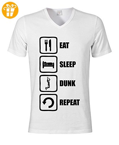 Eat Sleep Dunk Repeat Funny Basketball Graphic Men's V-Neck T-shirt XX-Large (*Partner-Link)