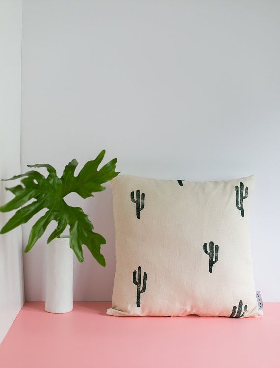 16x16 Tan and Green Cactus Print Pillow, cotton and linen