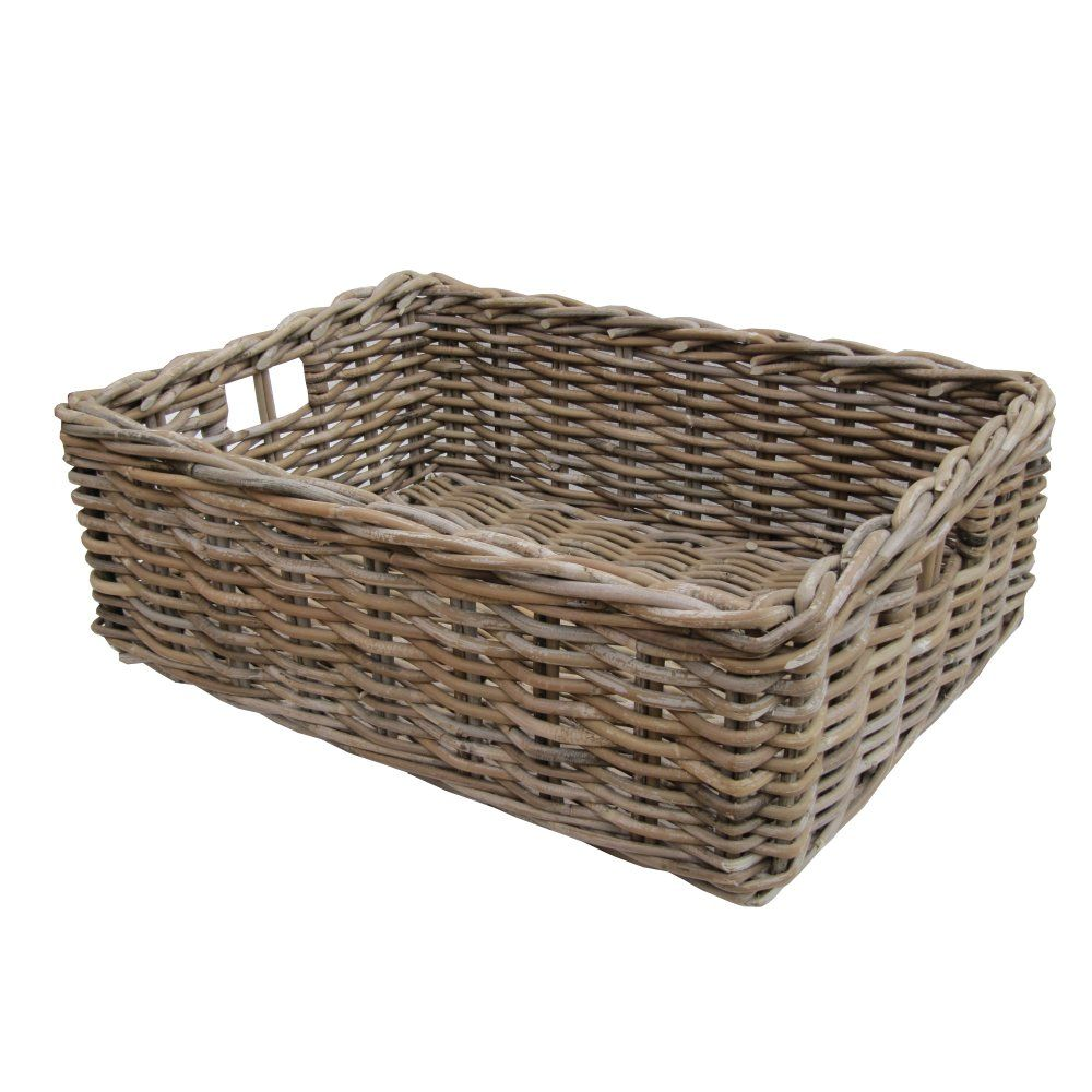 These Rectangular Grey u0026 Buff Rattan Storage Baskets / Empty H&er Baskets are useful for all sorts of different things.  sc 1 st  Pinterest & large brown wicker baskets | Minimalist Home Design | Pinterest ...