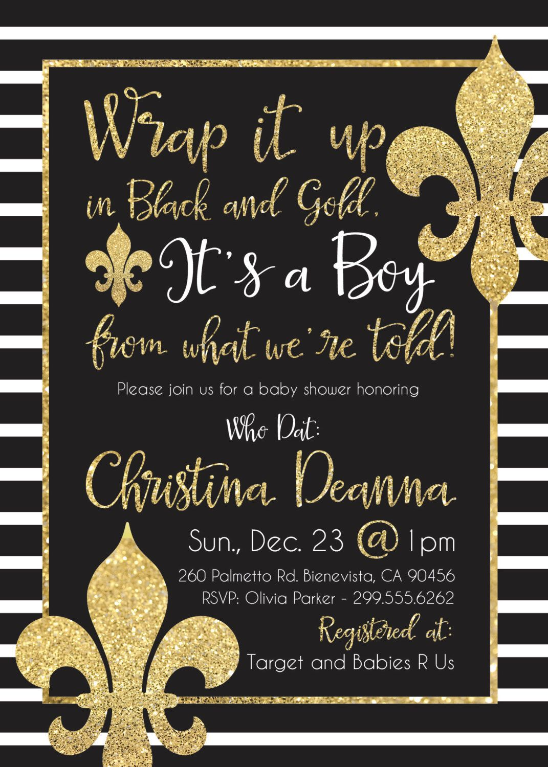 New Orleans Saints Who Dat Black And Gold Baby Shower Invite DIY Printable  By LilPineappleStudios On