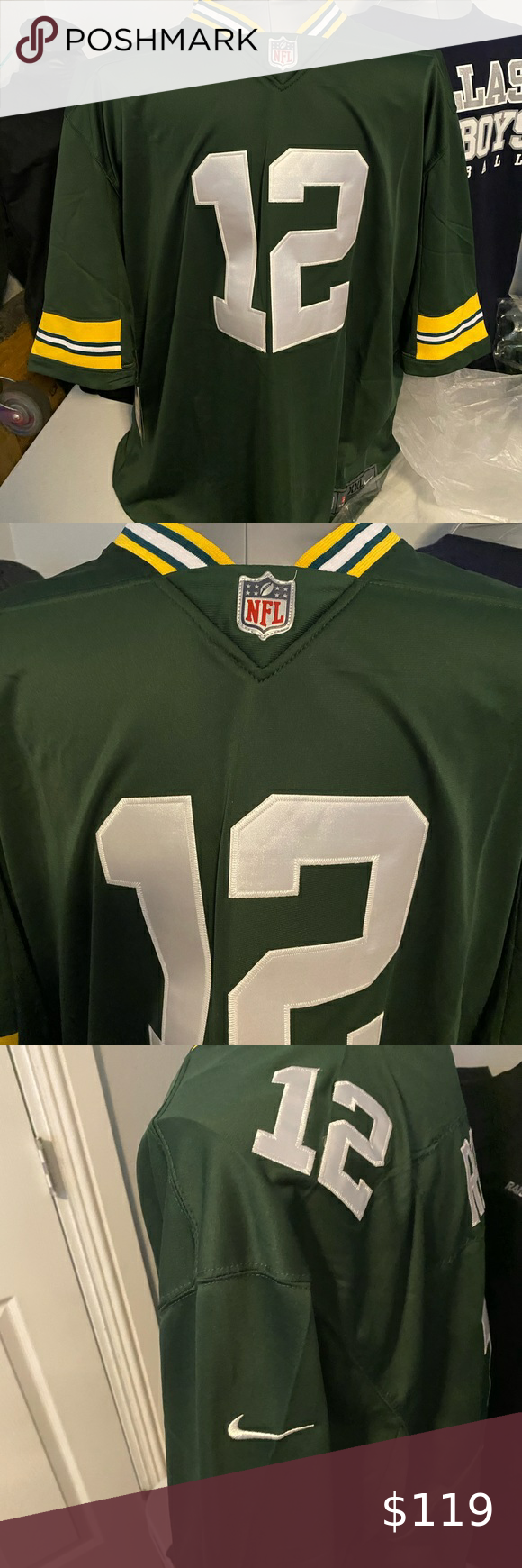 Green Bay Packers 12 Aaron Rodgers Nike Jersey In 2020 Nike Jersey Nike Shirts Mens Shirts