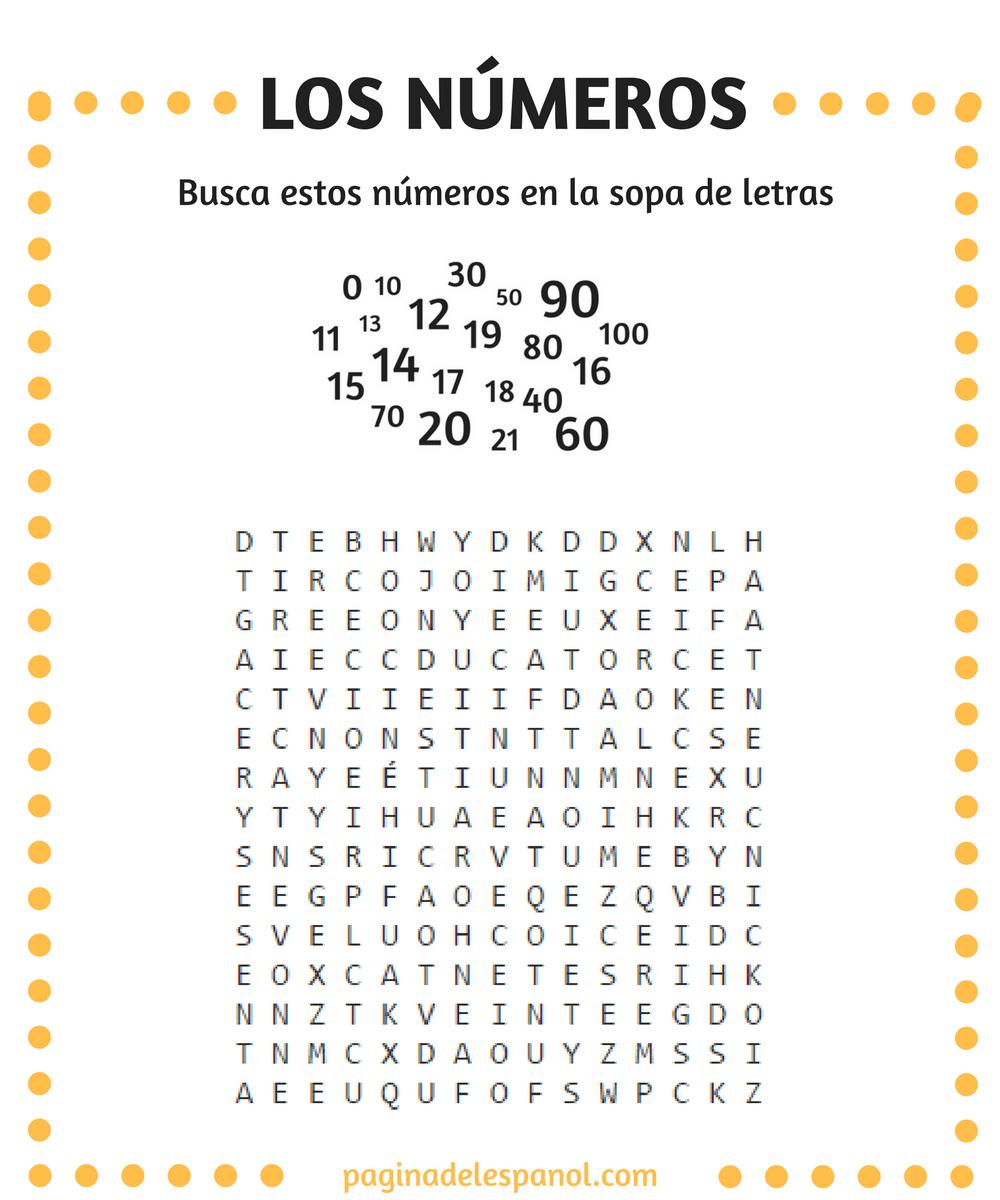 Free Worksheet Los Numeros En Espanol Worksheet los 1 100 basics pinterest student centered busca estos naomeros en la sopa de letras del