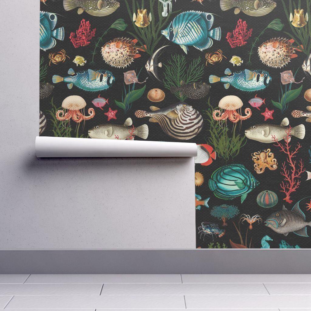 Ocean Fish Wallpaper Black Teal Coral Red Removable Peel And Etsy Wallpaper Fish Wallpaper Teal Coral