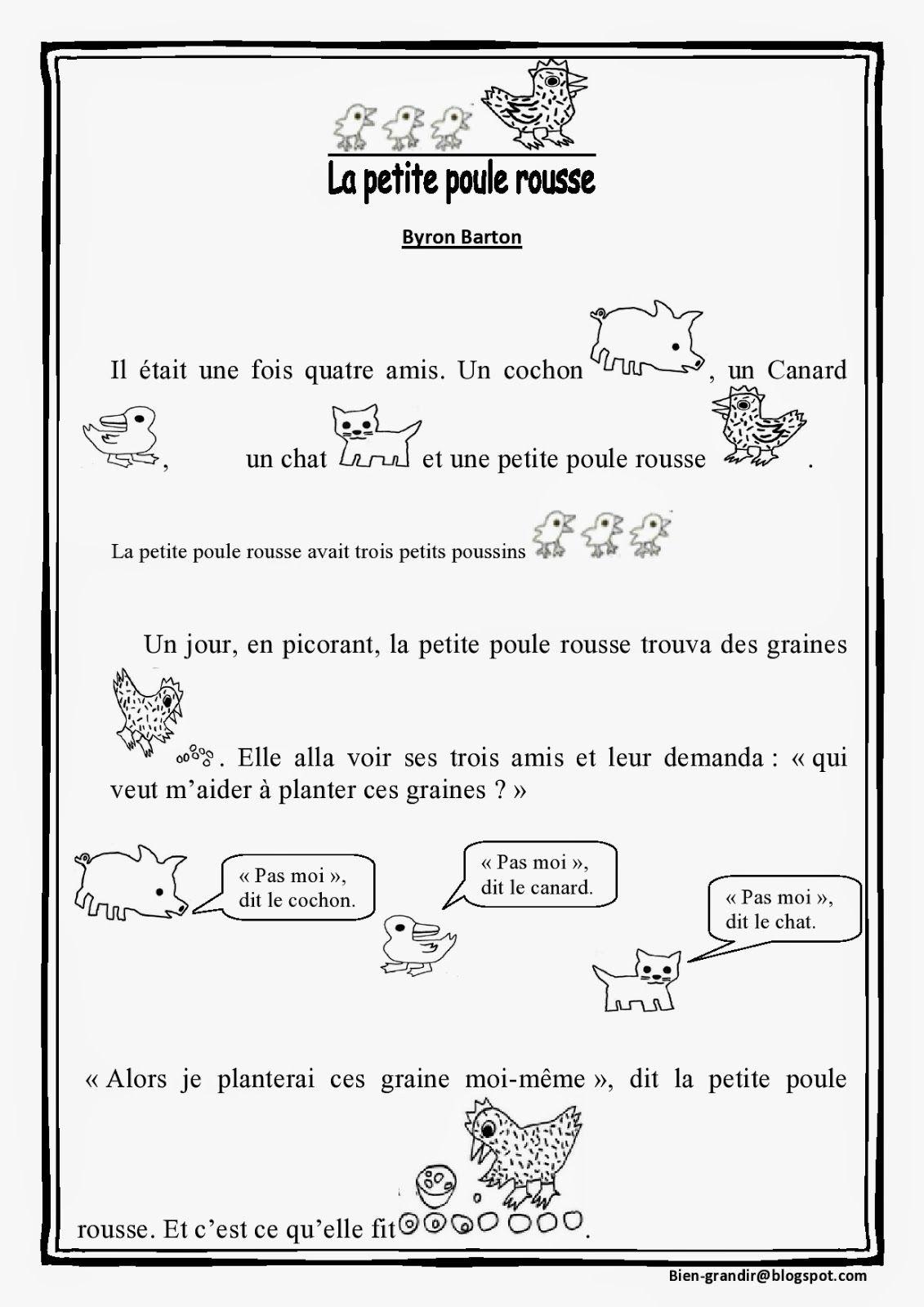 la petite poule rousse texte pdf