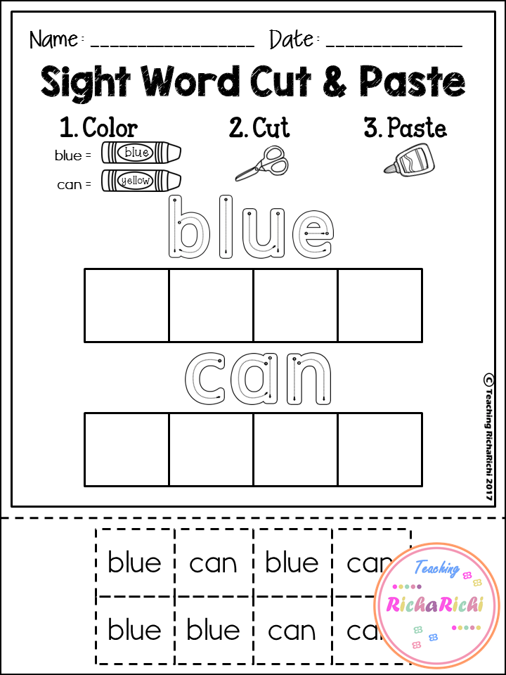 FREE Sight Word Cut and Paste Worksheets (Pre-Primer