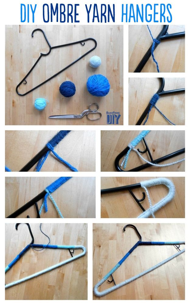 14 Adorable Ways To Decorate Your Clothing Hangers Diy Ombre Yarn Diy Clothes Hangers Decorated Clothes Hangers