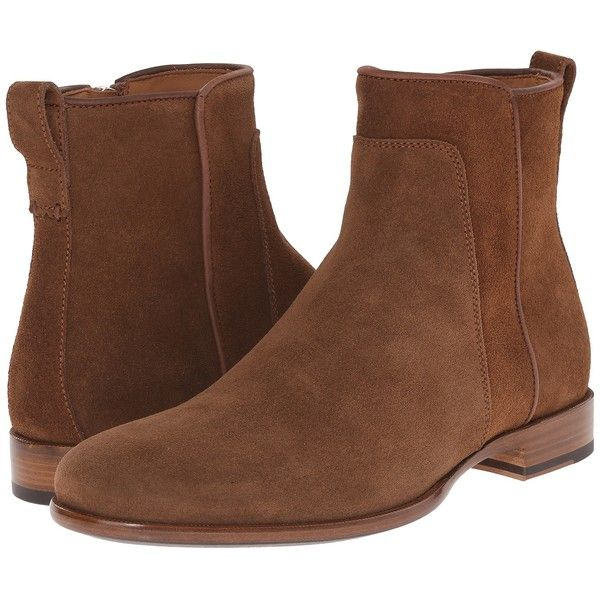 Aquatalia Kenton (Medium Brown Dress Suede) Men's Zip Boots ($302) ❤ liked