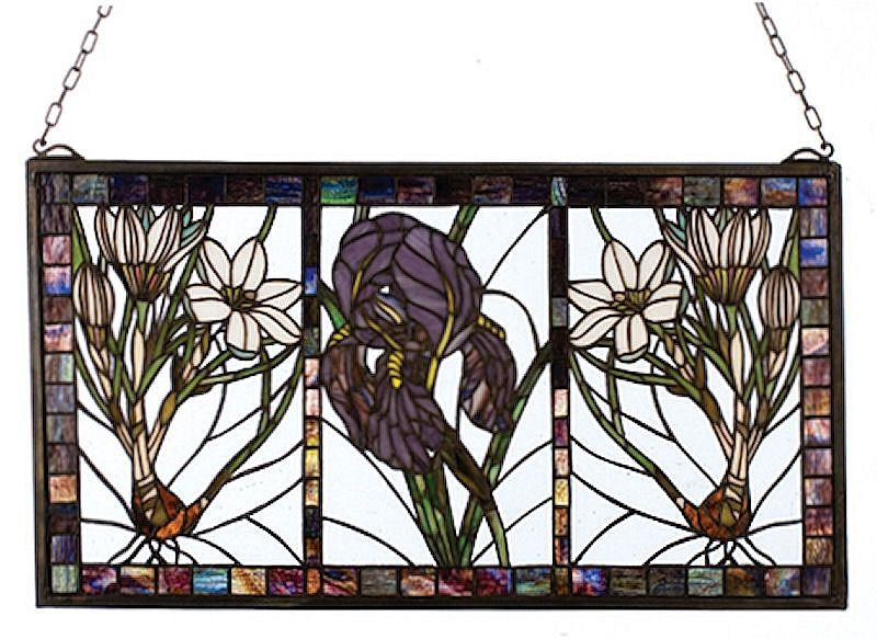Spring Triptych Stained Glass Window   25x14 inches