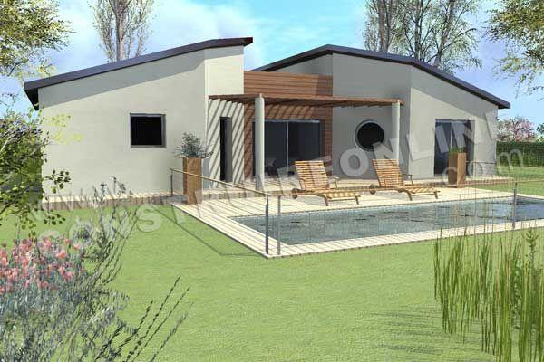 Plan de maison moderne modele tronic vue 3d maison for Modele de maison plain pied moderne