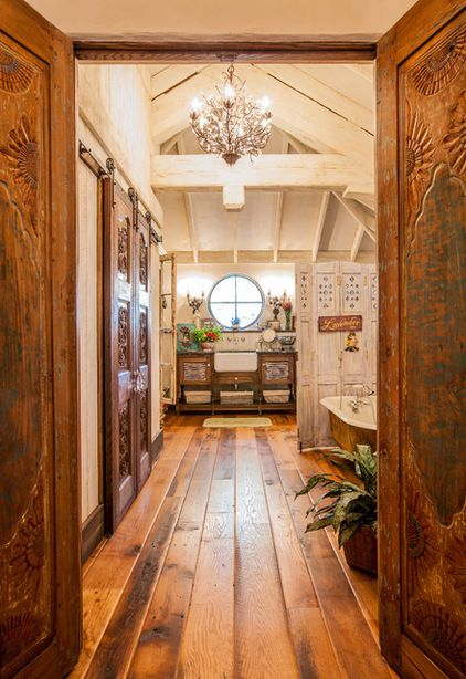 Doors Designs Brown Elegant Traditional Wooden Front Door Ideas For Awesome Country House Also: Salvaged Flea Market Doors Lead From The Bedroom Into The En Suite Bathroom. Chandelier: Camilla