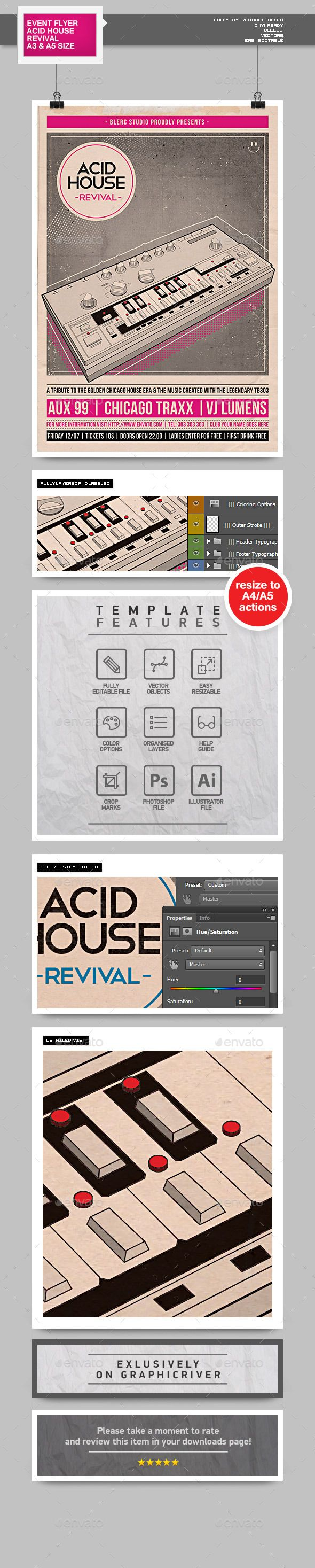 Flyer - Poster: Acid House Revival | Flyer template, Template and House