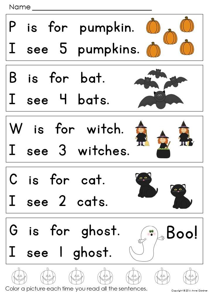 Halloween Reading Pack for Students at Guided Reading Levels A & B ...