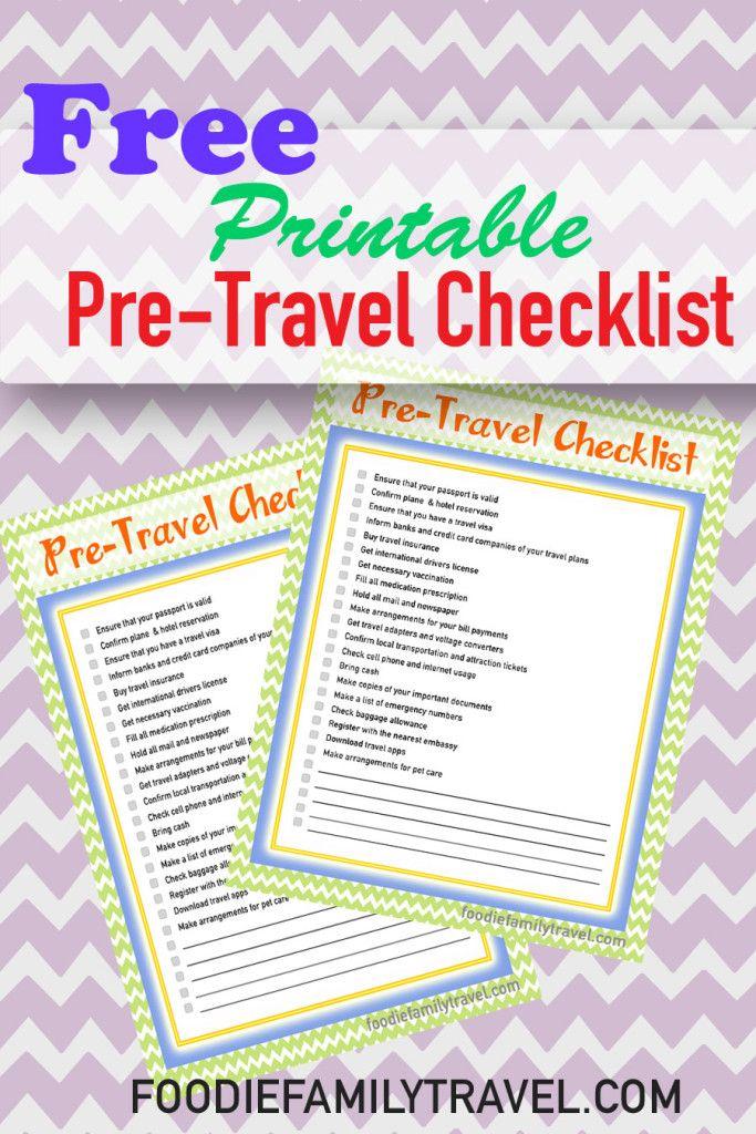 Free Printable Pre-Travel Checklist Travel Tips  Checklists - Travel Checklist