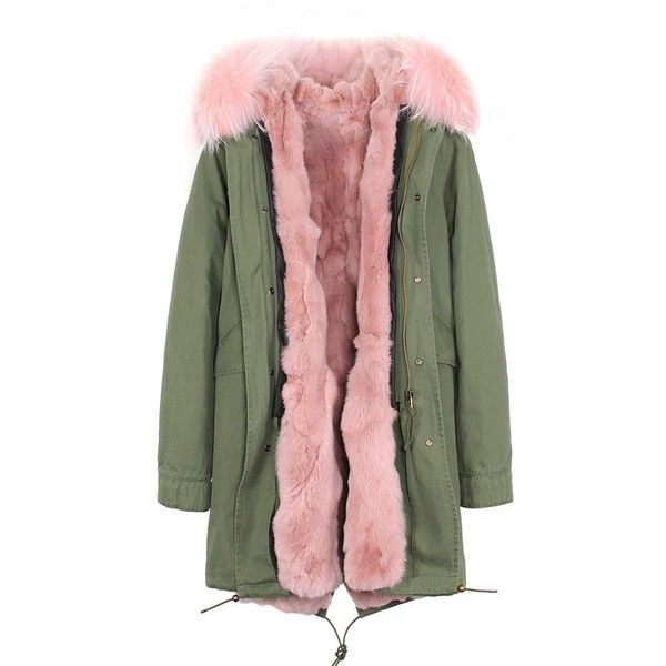 Melody Women's Army Green Large Raccoon Fur Collar Hooded