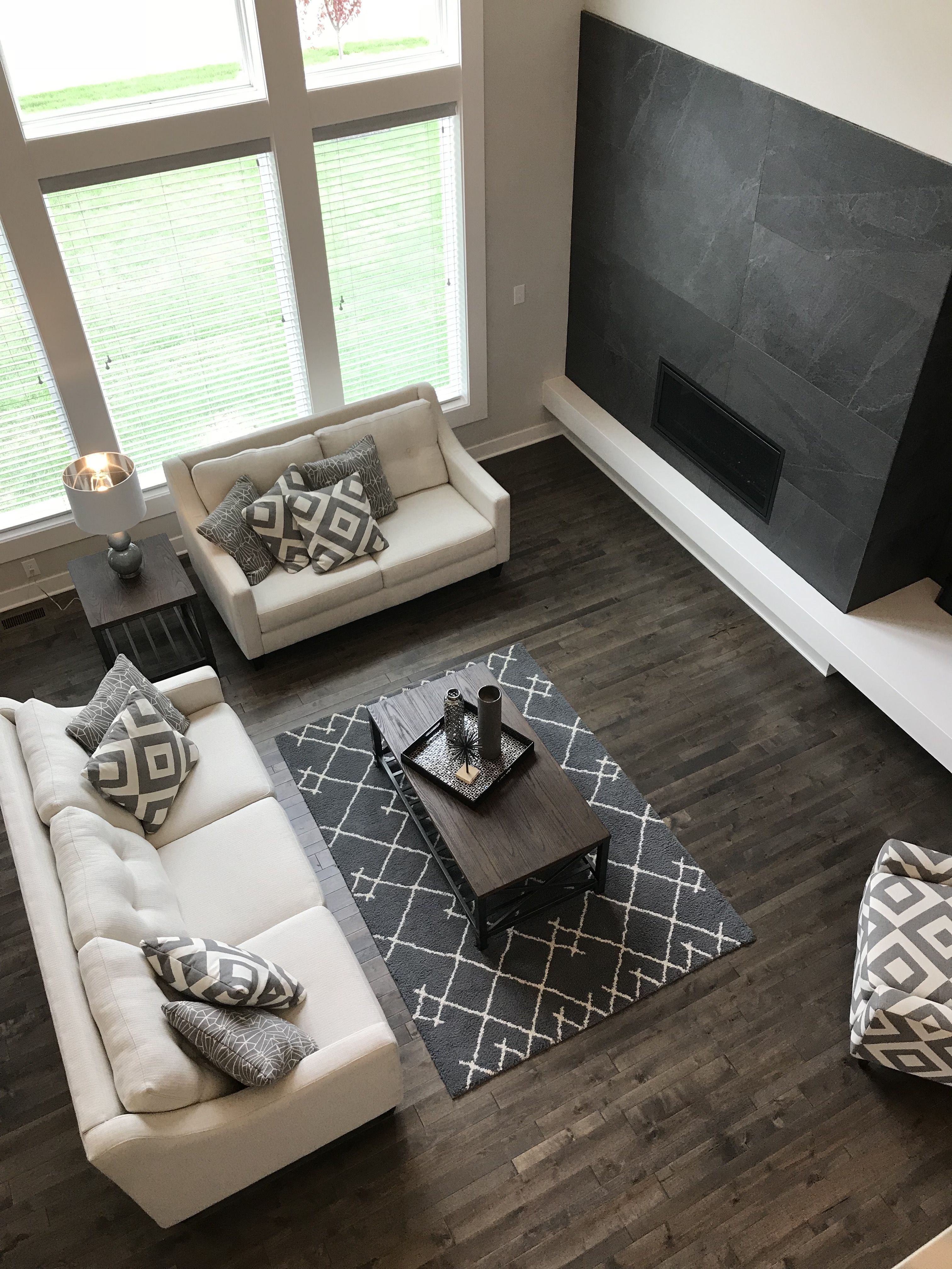 High Contrast Living Room Matching Pillows To Accent Chair Wood Top Coffee Table Kc Parade Of Homes 2018 High Contrast Living Room Wood Chair Home