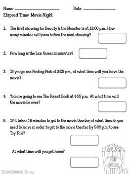elapsed time at the movies english spanish 3rd 6th math ideas pinterest elapsed. Black Bedroom Furniture Sets. Home Design Ideas