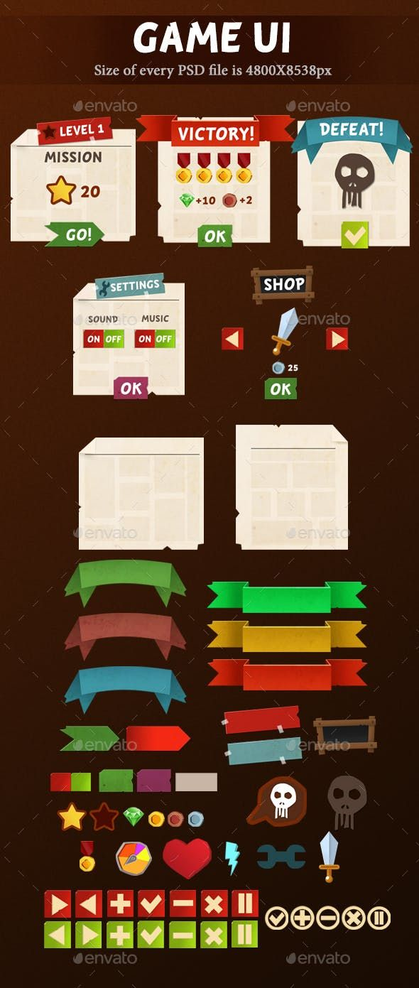 Game UI — Photoshop PSD #android #block #gameinterface