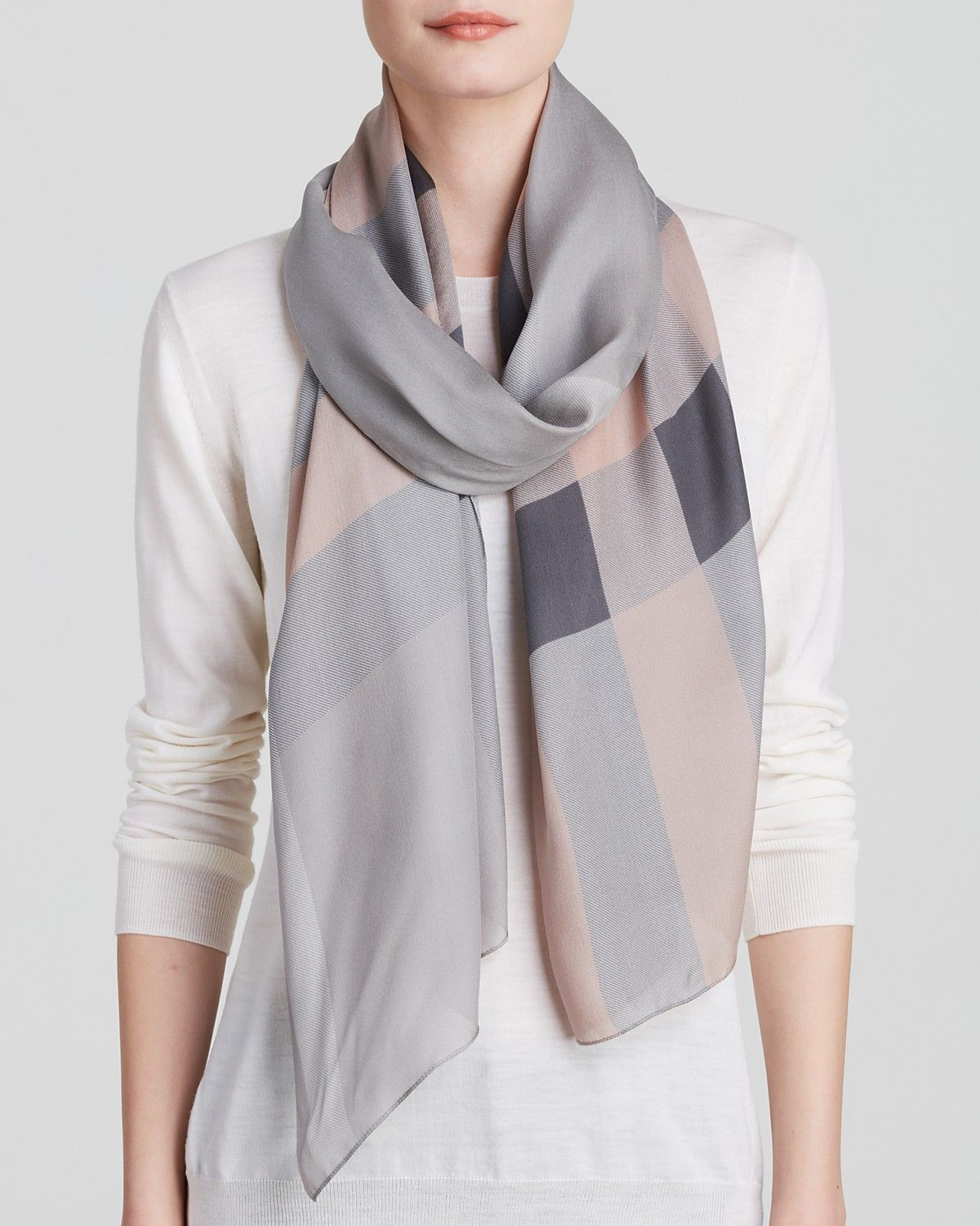 Burberry Core Check Oblong Silk Scarf   Bloomingdale's ...