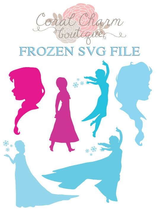 SVG Frozen Anna/Elsa Silhouettes File by ...