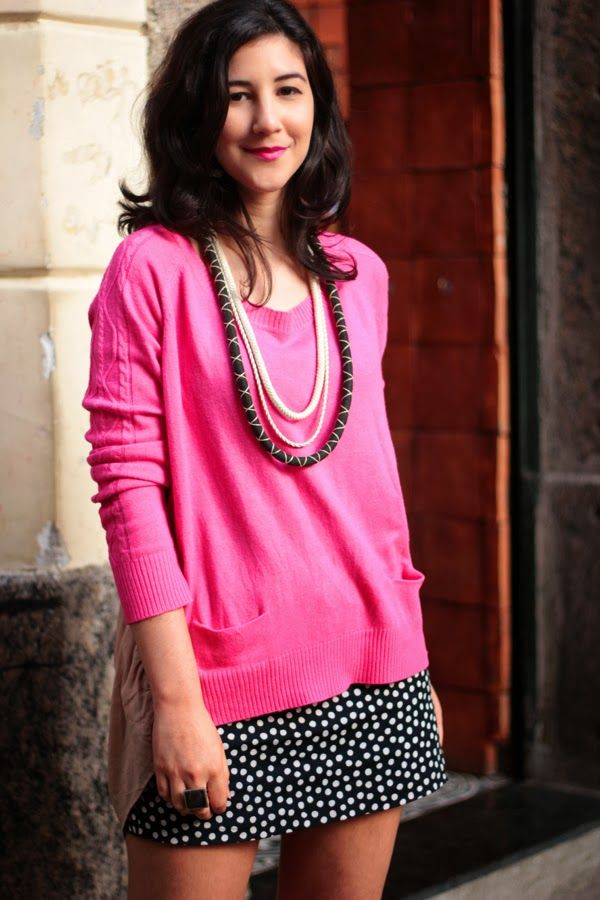 pink sweater & polka dots skirt