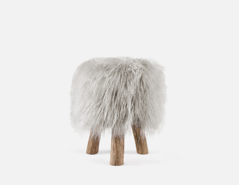 Pleasant Tribble Wood Stool With Faux Fur 40Cm 16 Ai Bedroom In Cjindustries Chair Design For Home Cjindustriesco