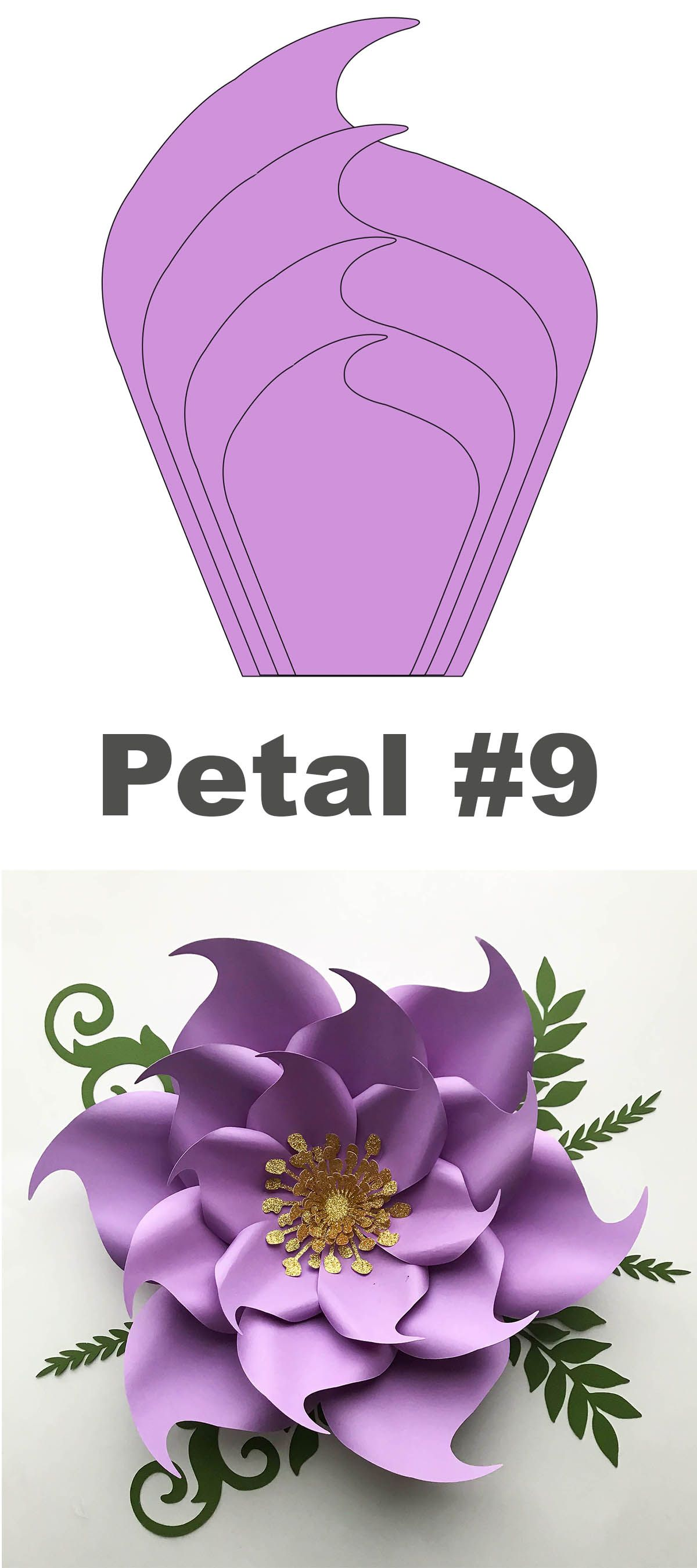 SVG DXF Petal 9 Paper Flowers Template For Cutting Machine #paperflowertutorial