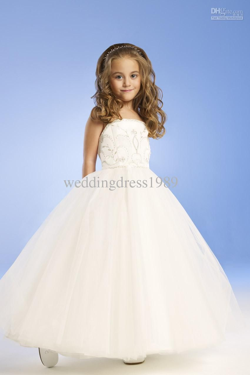 For 4 10 Years Old 2014 Flower girl dresses with A-Line Strapless ...