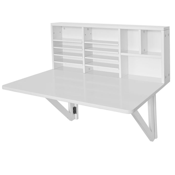 SoBuy FWT07 W, Folding Wooden Wall Mounted Drop Leaf Table Desk Integrated  With Storage Shelves, L90xW60cm, White SoBuy Http://www.amazon.co.uk/dp/u2026
