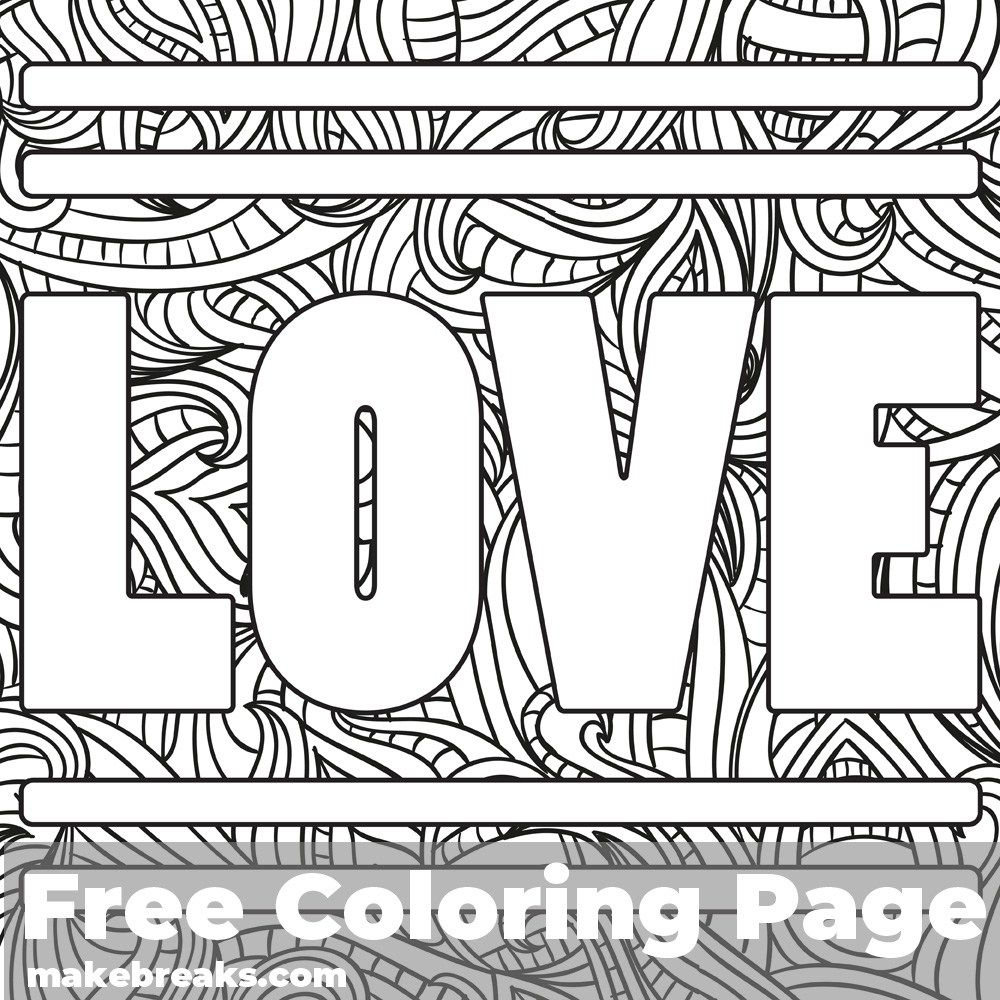 Love Word Free Valentine S Day And Romantic Themed Coloring Page