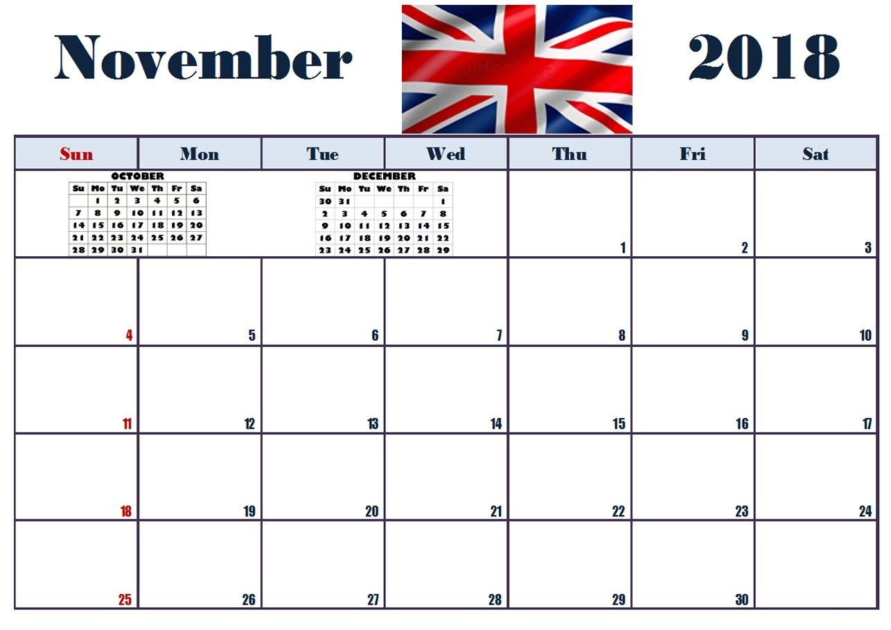 November 2018 Printable Calendar Uk Format With Images