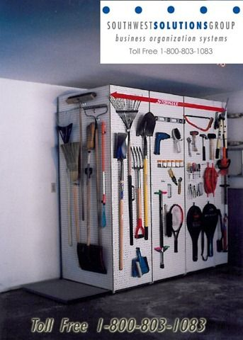 Pegboard Storage For Garages | Home-garage-storage-racks-hanging-organization-rakes-shovels-peg-board ...
