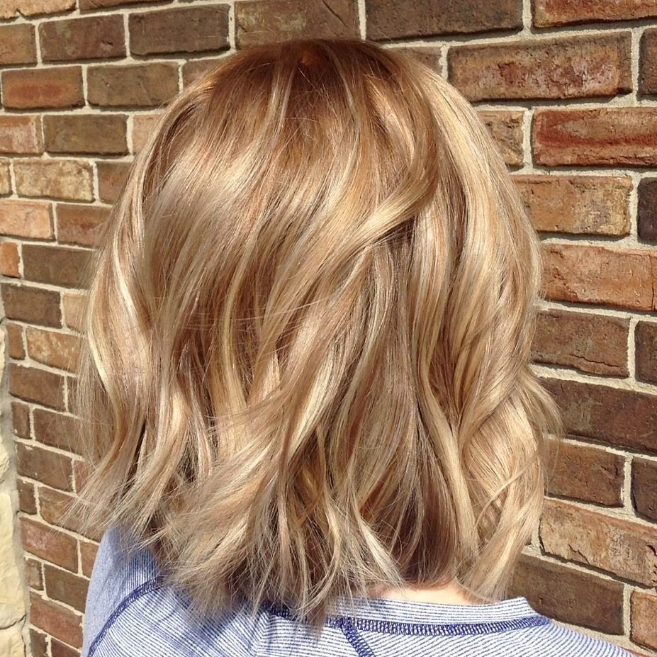 Warm blond balayage on shattered bob hair cut hair ideas