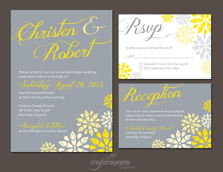 Gray and Yellow Floral Wedding Invitation Set // Modern Wedding ...