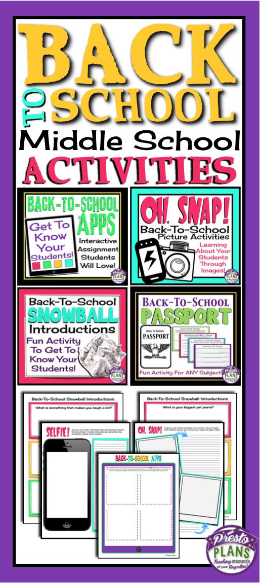 Back to school activities | Educational | Middle school