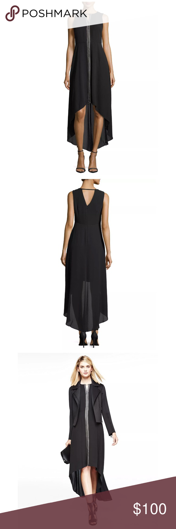 """🎁 HP 🎁 MUSE hi-lo sleeveless black maxi dress MUSE knit maxi dress. Approx. 39""""L front; 55 1/2""""L back. Caftan neckline; metallic beaded neck. Sleeveless; thin shoulder coverage. Mesh cutout down front. Tailored bodice. Measurements:  Empire waist. High-low hem. Back zip closure. Polyester; self-lined; dry clean. Imported.  Bust:  38"""" Waist:  32""""  Hips: 45"""" Muse Refined Dresses High Low"""