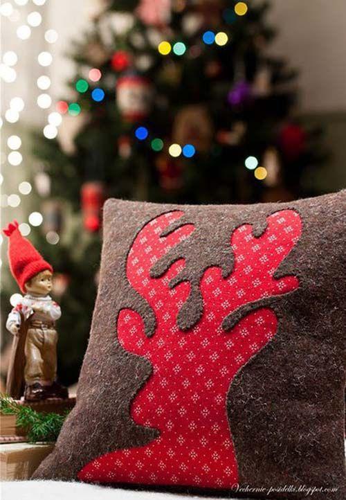 Modelos de almohadas navideñas01 cojines cintas y flores - objetos navideos