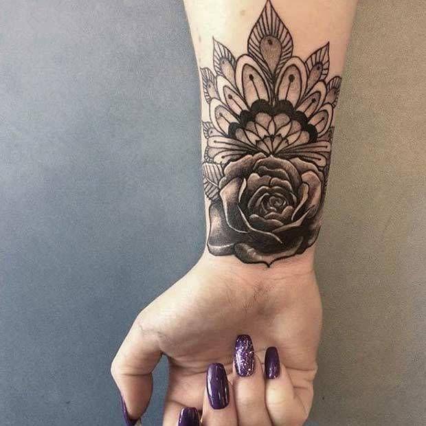 09988d6045284 10 Stylish Wrist Tattoo Ideas for Women: #6. FLORAL MANDALA TATTOO ...