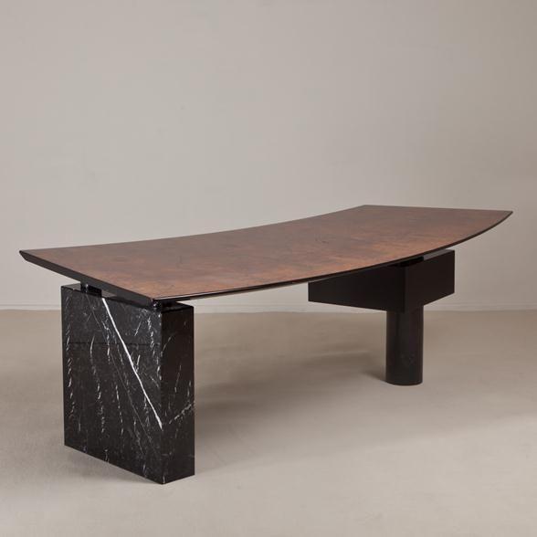 A Superb Italian Desk In Burr Veneer Surmounted By Marble